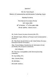 Minister's IGF Opening Speech