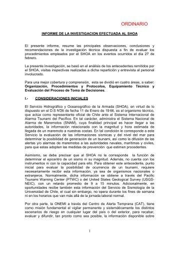 INFORME INVESTIGACION TECNICA ARMADA - SHOA