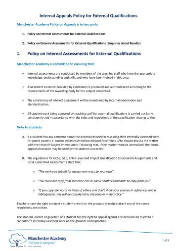 1. Policy on Internal Assessments for External Qualifications