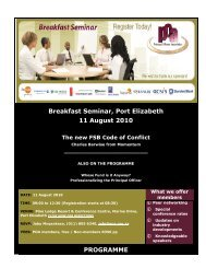 Breakfast Seminar, Port Elizabeth 11 August 2010 PROGRAMME
