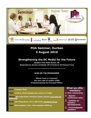 POA Seminar, Durban 5 August 2010 - Principal Officers Association