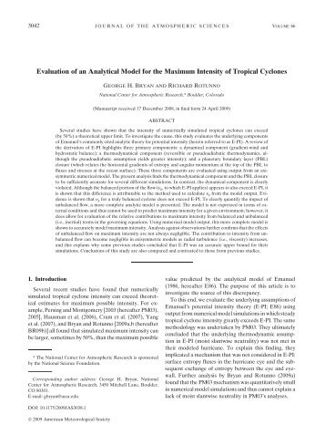 Evaluation of an Analytical Model for the Maximum Intensity of ...