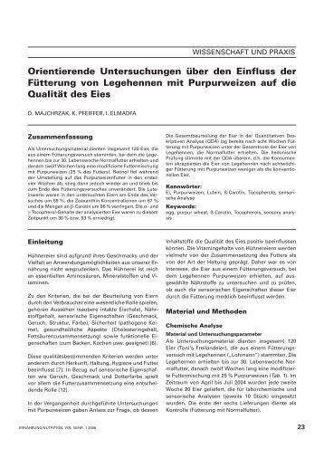 Orientierende Untersuchungen über den Einfluss der Fütterung von ...