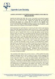 Statement on Developments Affecting the Media - Uganda Law ...