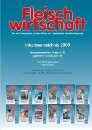 Inhaltsverzeichnis 2009 - Allgemeine Fleischer Zeitung