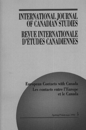 European Contacts with Canada/Les contacts entre l'Europe et le ...