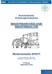 Vorlesungsverzeichnis - Fakultät 6 - TU Bergakademie Freiberg