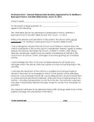 Permission Form – General Release/Hold Harmless Agreement for ...