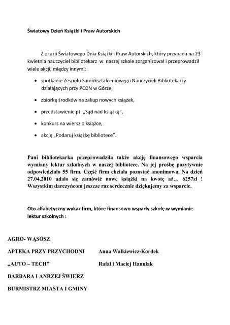 åšwiatowy Dzieo Ksiäå¼ki I Praw Autorskich Z Okazji