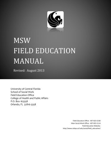 MSW FIELD EDUCATION MANUAL - College of Health and Public ...