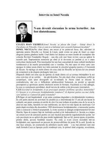 Interviu cu Ionel Necula - culitaioanusurelu.ro