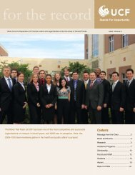 For the Record - 2009 - College of Health and Public Affairs