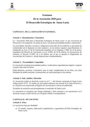 Estatutos Asociación Plan Estratégico Santa Lucía 2020.