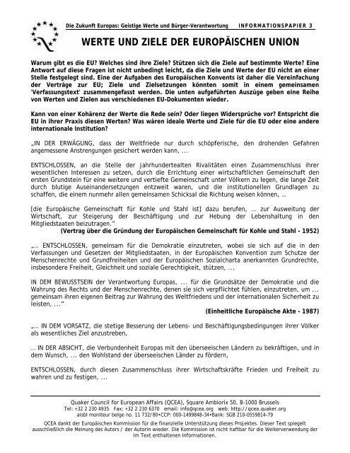 the aims and values of the eu - Quaker Council for European Affairs