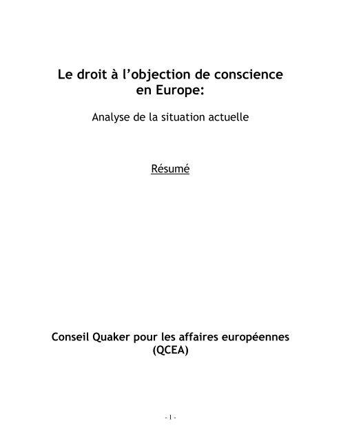 Le droit à l'objection de conscience en Europe: