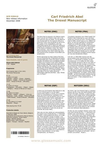 Carl Friedrich Abel The Drexel Manuscript - Glossa Music