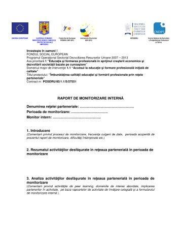 RAPORT DE MONITORIZARE INTERNĂ Denumirea reţelei ...