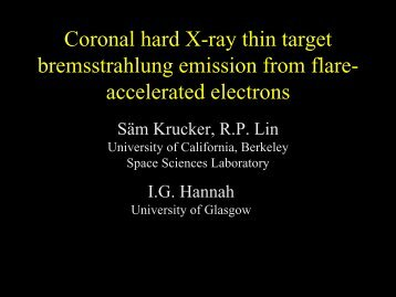 Coronal hard X-ray thin target bremsstrahlung emission from flare ...