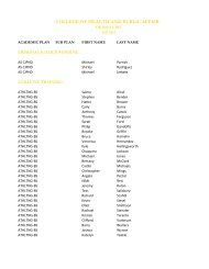 Dean's List - Fall 2012 - College of Health and Public Affairs