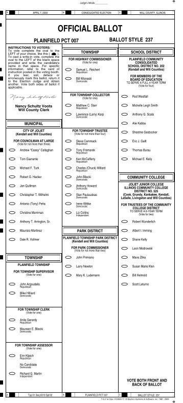 official ballot plainfield pct 007