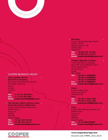 us product catalog - Cooper Bearings