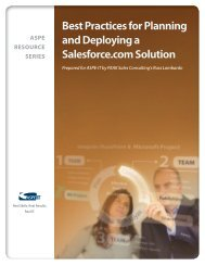 Best Practices for Planning and Deploying a Salesforce com ... - ASPE