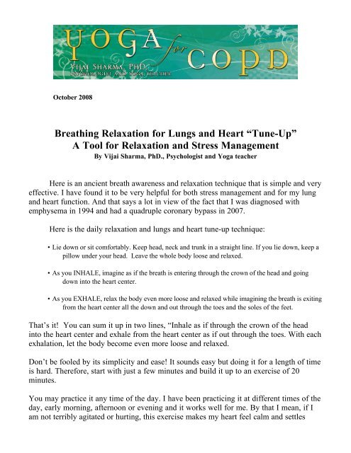 """Breathing Relaxation for Lungs and Heart """"Tune-Up†A Tool"""
