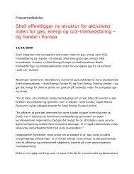 Shell offentliggør ny struktur for aktiviteter inden for gas, energi og ...