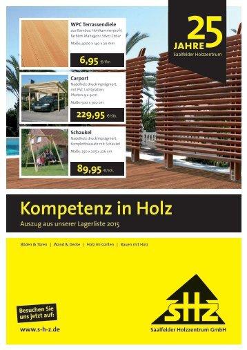 Lagerliste Holz im Garten - SHZ Saalfelder Holz-Zentrum GmbH