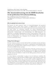 Die Auseinandersetzung mit der DDR-Geschichte in der politischen ...