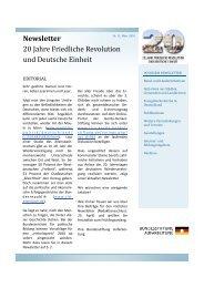Newsletter 20 Jahre Friedliche Revolution und Deutsche Einheit