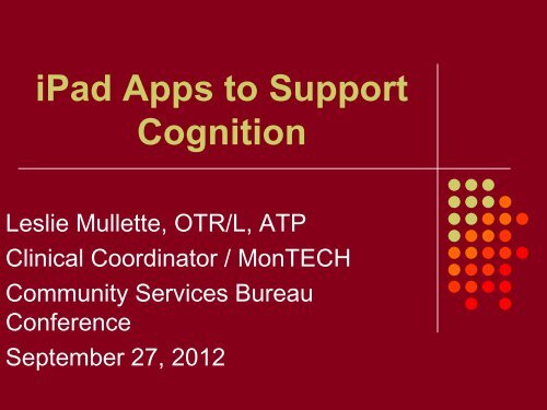 iPad apps to support Cognition - MonTECH