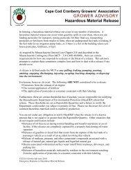 Hazardous Material Release - Cape Cod Cranberry Growers ...