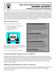 Licensing and Certification - Cape Cod Cranberry Growers ...