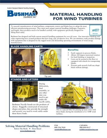 Material Handling for Wind Turbines PDF - Bushman Equipment, Inc.