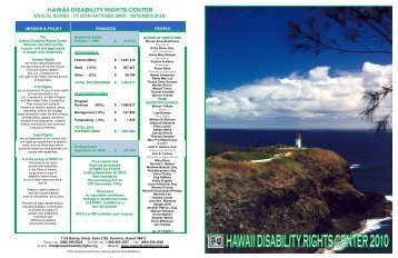 Annual Report, 2010 - Hawaii Disability Rights Center