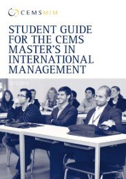 STUDENT GUIDE FOR THE CEMS MASTER'S IN INTERNATIONAL