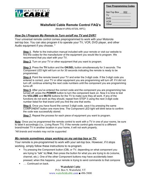 Waitsfield Cable Remote Control FAQ's