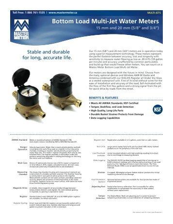 Bottom Load Multi-Jet Water Meters - 15 mm and 20 ... - Master Meter