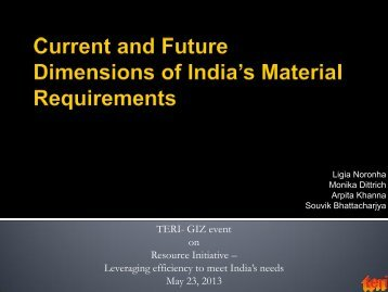 Current and Future Dimensions of India's Material ... - IGEP.in