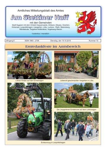 Am Stettiner Haff - Erntedankfeste im Amtsbereich - Stadt Eggesin