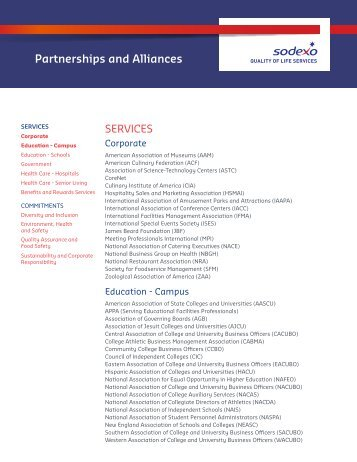 View a complete list of our partnerships and alliances - Sodexo