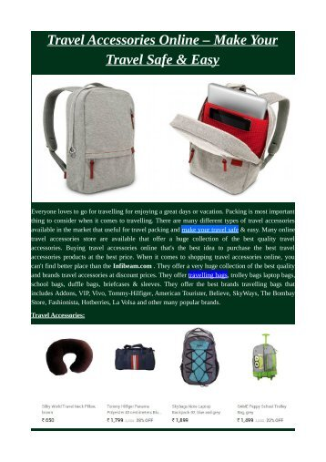 Travel Accessories Online – Make Your Travel Safe & Easy