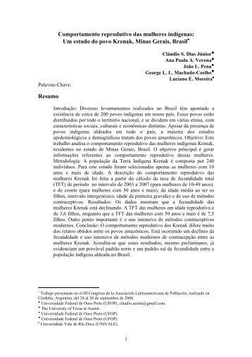 Comportamento reprodutivo das mulheres indígenas - Asociación ...