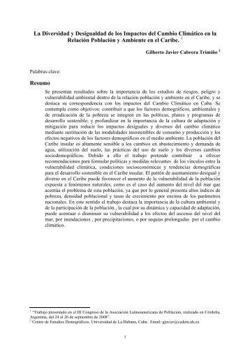 La Diversidad y Desigualdad de los Impactos del Cambio Climático ...