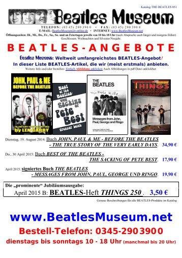 Beatles Museum - Katalog 51 mit Hyperlinks