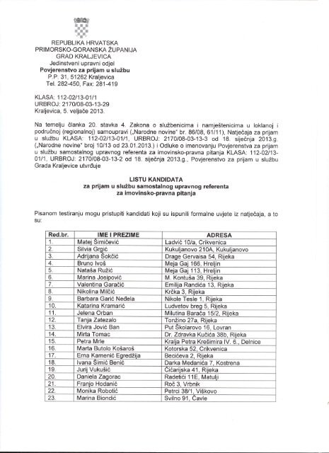 Lista kandidata - Grad Kraljevica