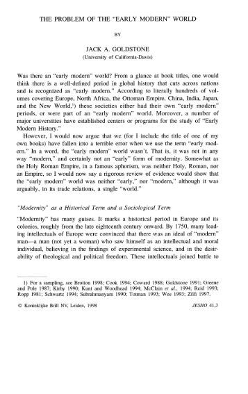 """THE PROBLEM OF THE """"EARLY MODERN"""" WORLD"""