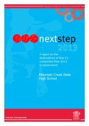 Next Steps Report 2013 - Mountain Creek State High School