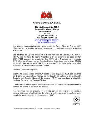 GRUPO GIGANTE, SA DE CV Ejército Nacional No. 769 ... - Santander